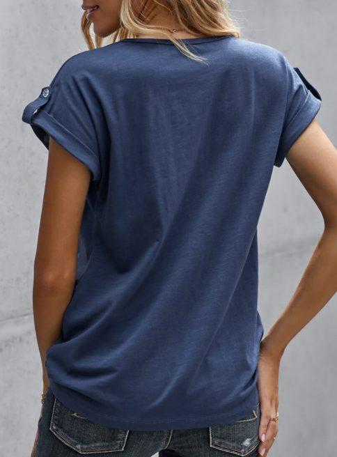 Blue Cotton Blend Short Sleeve T-shirt