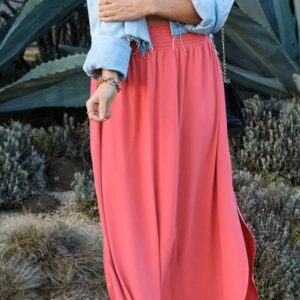 Pink Smocked Waist Maxi Skirt with Pocket