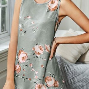 Gray Floral Print Tank Top