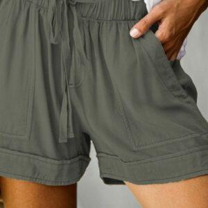 Green Pocketed Tencel Shorts