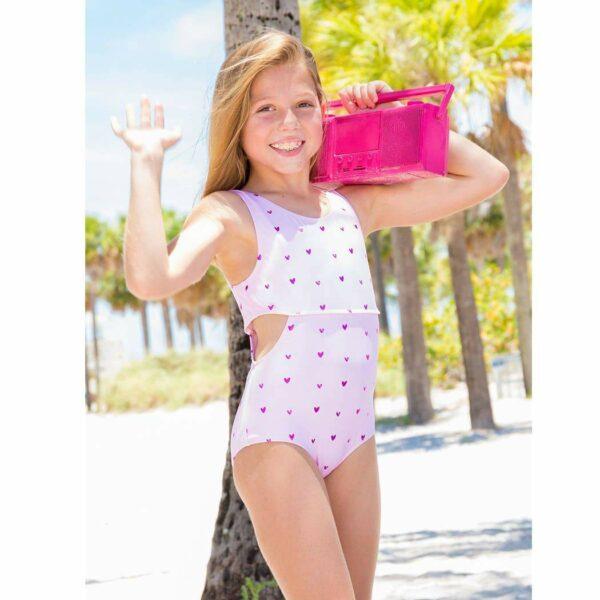 Clara – Heart Foil One Piece Swimsuit