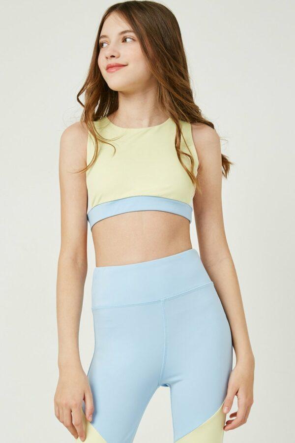 blue color block active sports bra