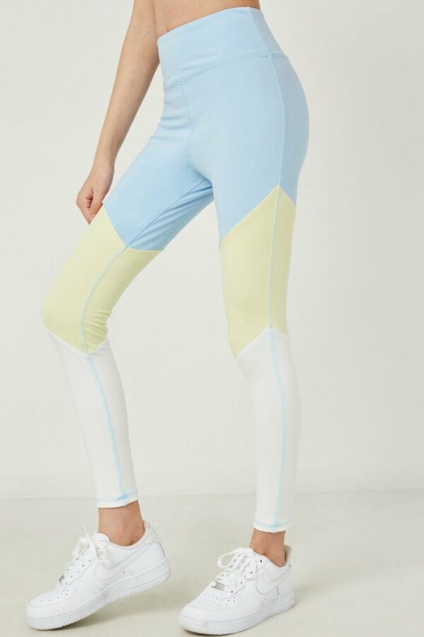 blue color block active leggings