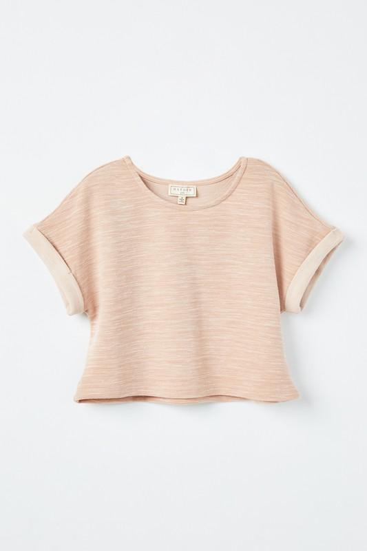 blush heathered rolled sleeve knit top