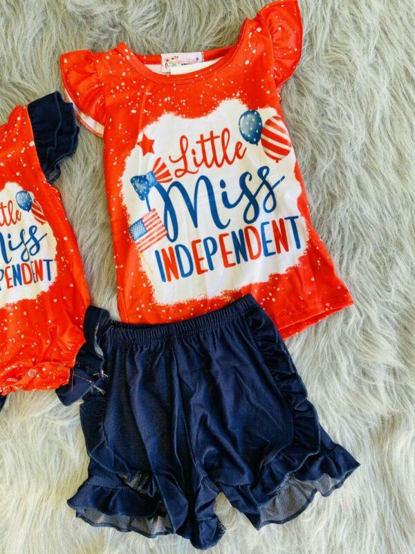 little miss independent shorts set