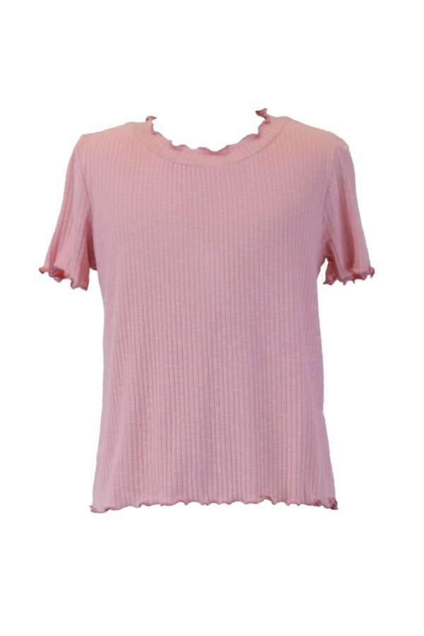 coral ribbed top with lettuce hem