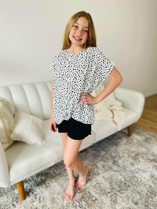 abstract cheetah low back blouse
