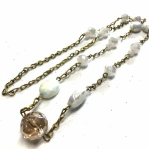 Handmade white & amber colored glass beaded necklace