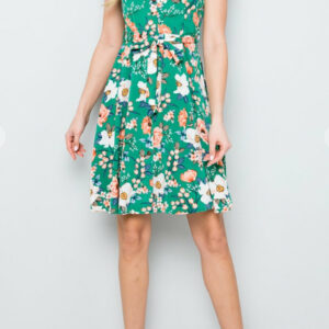 Green Vintage Floral Cap Sleeve Dress