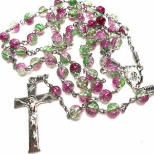 Handmade green& pink acrylic rosary