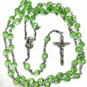 Handmade light green glass beaded rosary