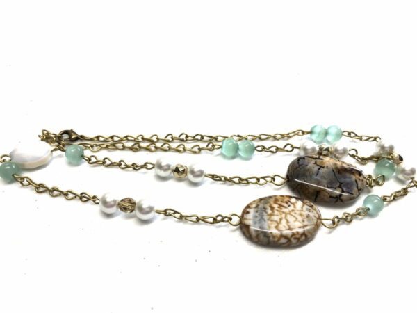 Handmade Aqua/brown/white/gold colored beaded necklace