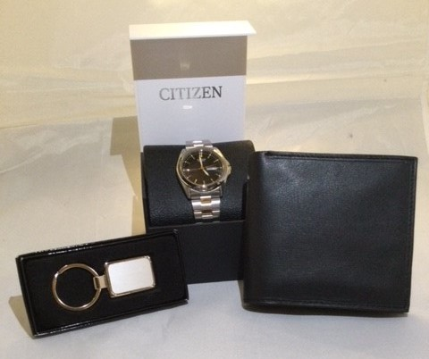 Men's Watch, Wallet & Key Chain Gift Collection