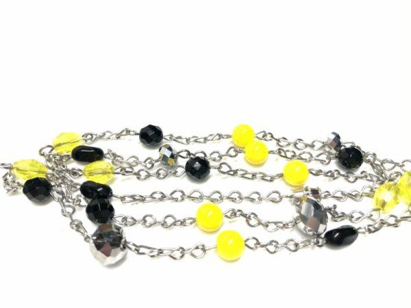 Handmade yellow, black & silver glass beaded women's necklace
