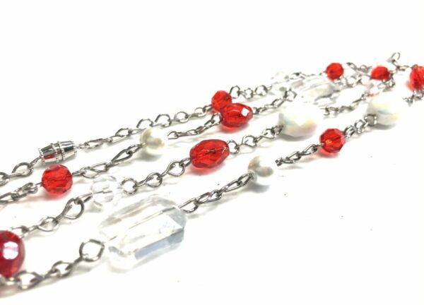 Handmade red, white & clear glass beaded necklace