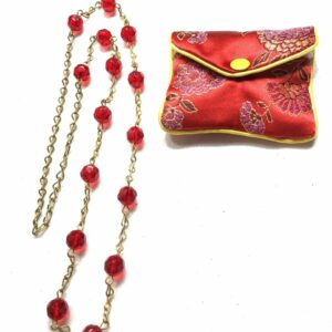 Handmade red glass beaded necklace