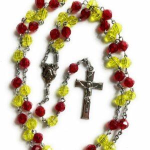 Handmade yellow and red acrylic rosary