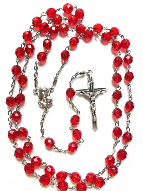 Handmade red glass beaded rosary