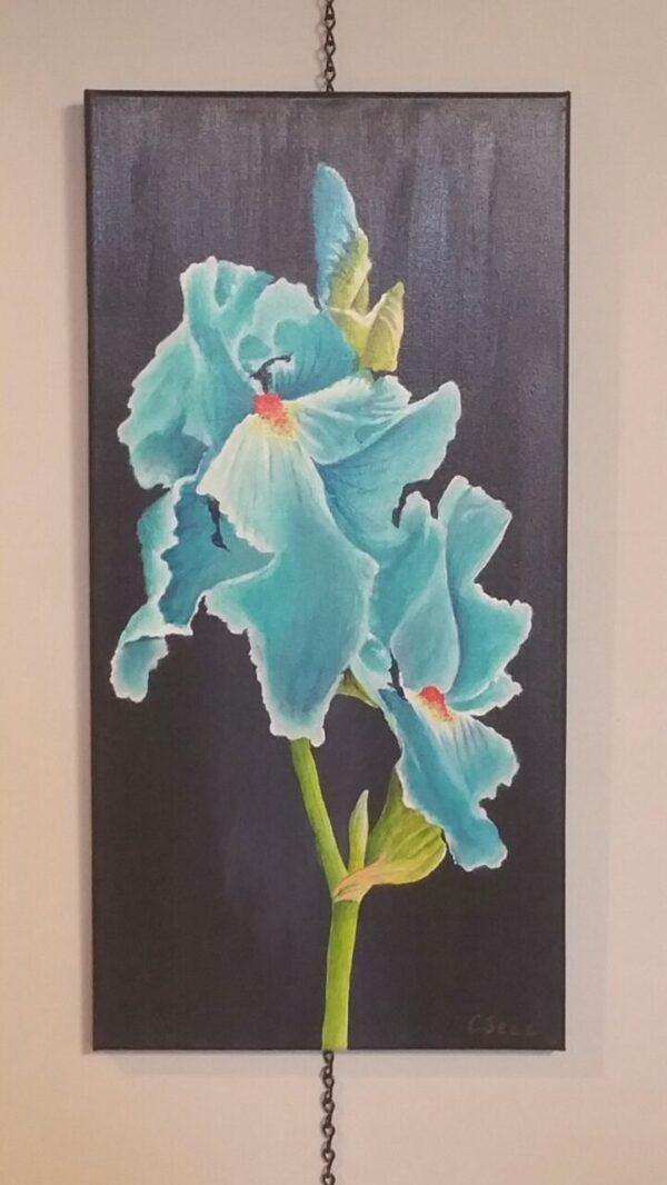 Aqua Blue Iris Acrylic Painting by Cris Sell