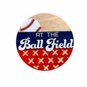 At The Ball Fields Round Door Hanger Welcome Sign