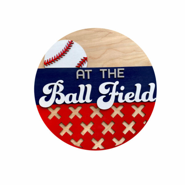 At The Ball Fields Round Front Door Hanger Welcome Sign