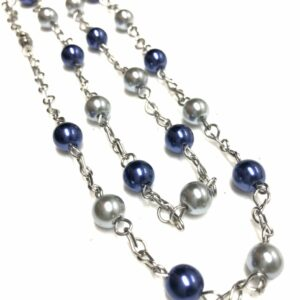 Handmade navy blue & gray glass pearl necklace