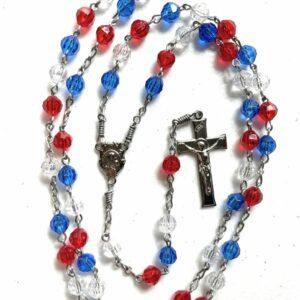 Handmade red/white/blue acrylic rosary