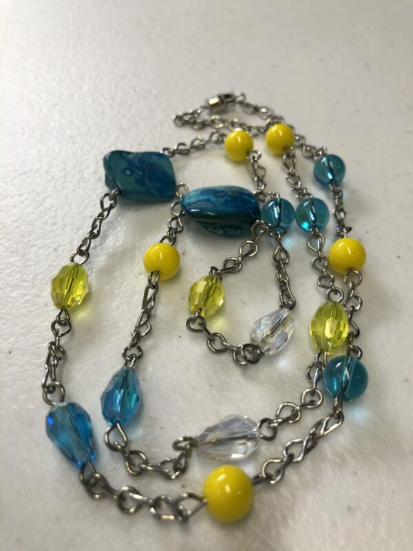 Handmade turquoise, yellow & clear necklace