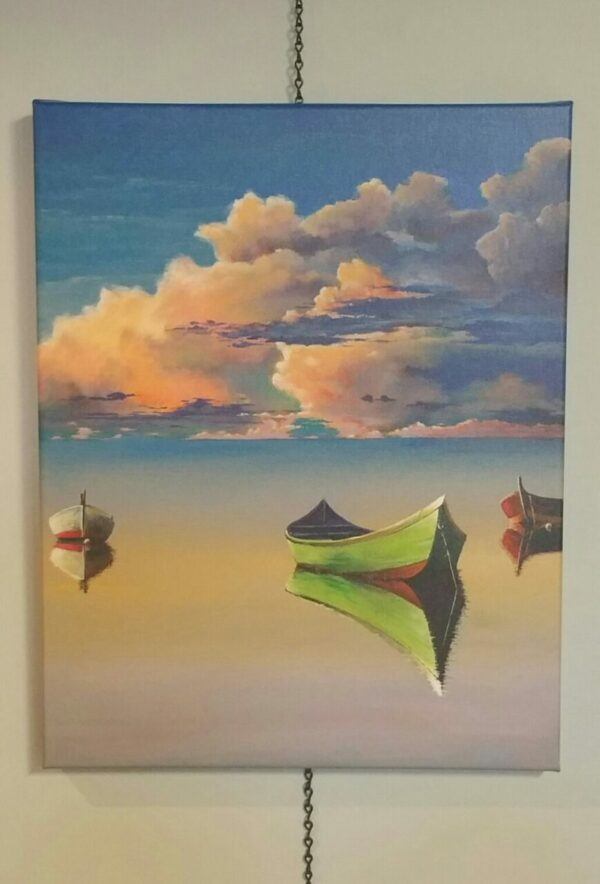 Three Boats Painting by Cris Sell