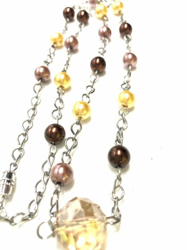 Handmade brown & yellow/gold colored glass pearl necklace
