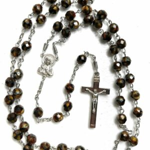 Handmade tiger eye glass rosary