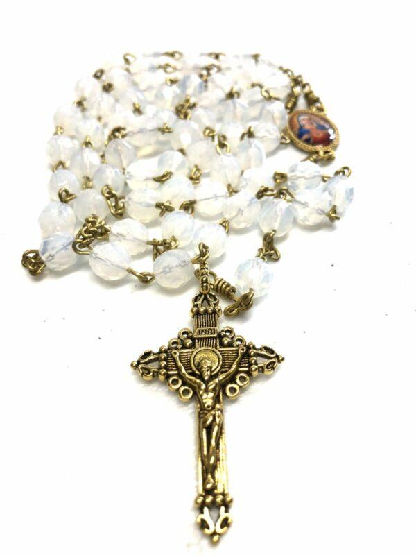 Handmade White opal glass beaded rosary