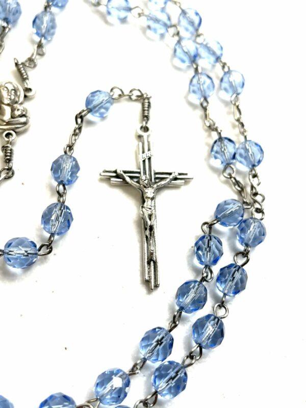 Light blue glass rosary