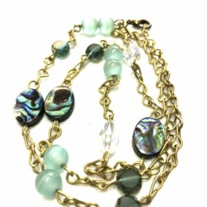 Handmade aqua, brown and clear glass beaded necklace