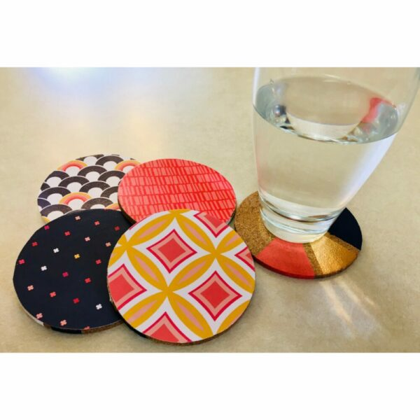 4-Pack Double-Sided Round Cork Coasters with Geometric Pattern