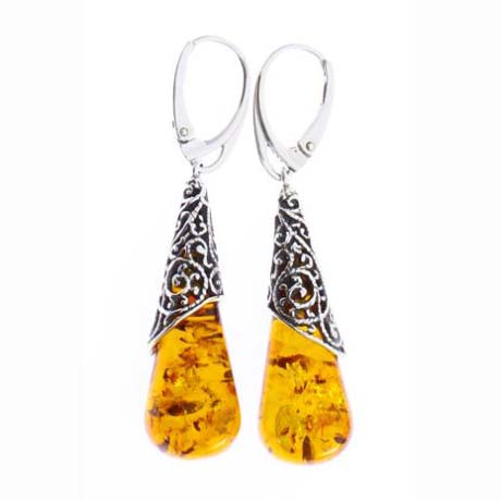 Filigree Baltic Amber and Sterling Silver Earrings