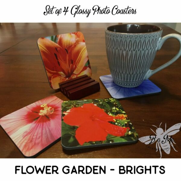 Glossy 4″ Square Coasters with Flower Photo