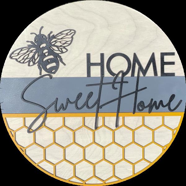 Home Sweet Home Bee Round Front Door Hanger Welcome Sign