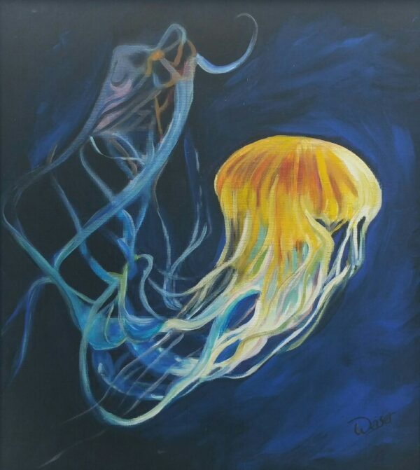 Flight of the Jellyfish acrylic painting by Deb Weiser