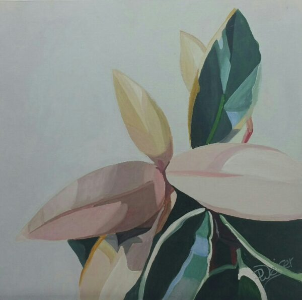 Magnolia Leaves acrylic painting by Deb Weiser