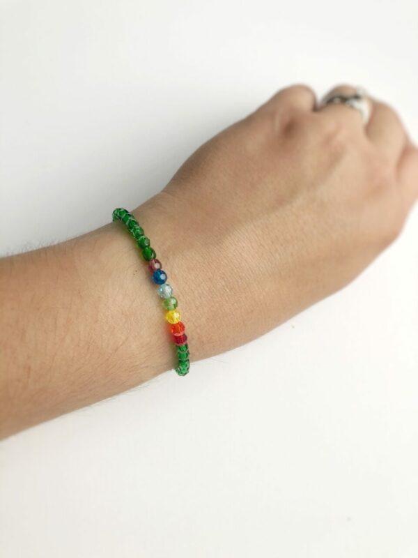 Rainbow Crystal Birthstone Elastic Bracelet