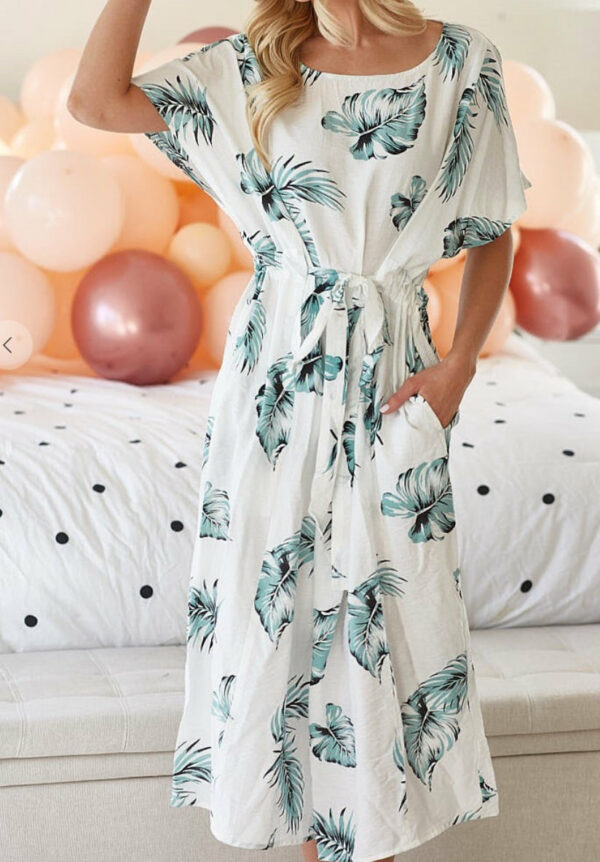 Tropical Print Dress with Waist Tie