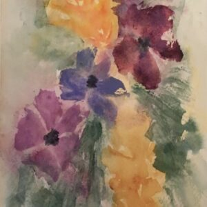 Purple and Gold Bouquet original watercolor painting