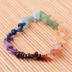 Chakra Mixed Gemstone Chip Stretch Bracelet