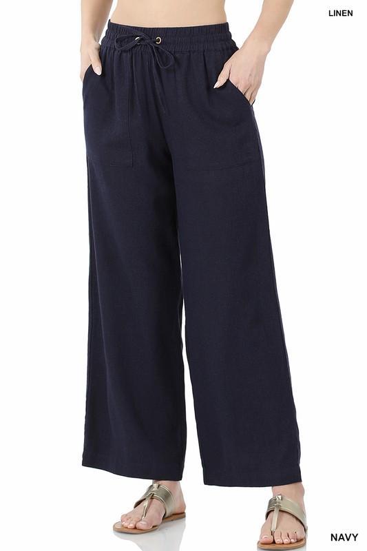 Linen Drawstring Pants-Navy