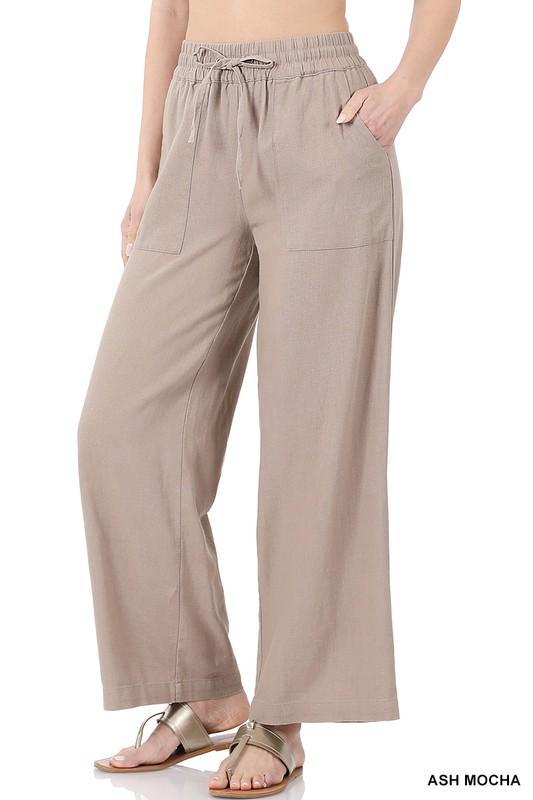 Linen Drawstring Pants-Taupe