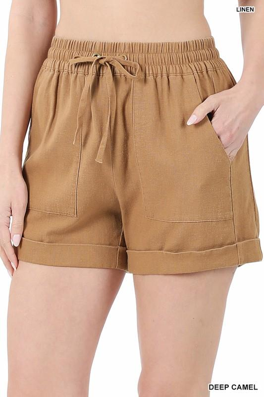 Camel Linen Shorts