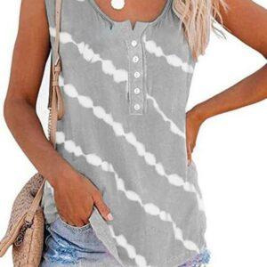 Stripe Tie Dye Tank-Grey