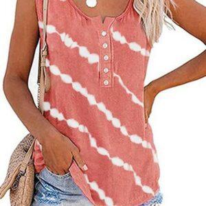 Stripe Tie Dye Tank-Pink