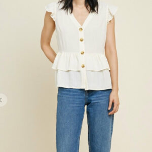 Button Down Tiered Ruffle Top (More Colors)